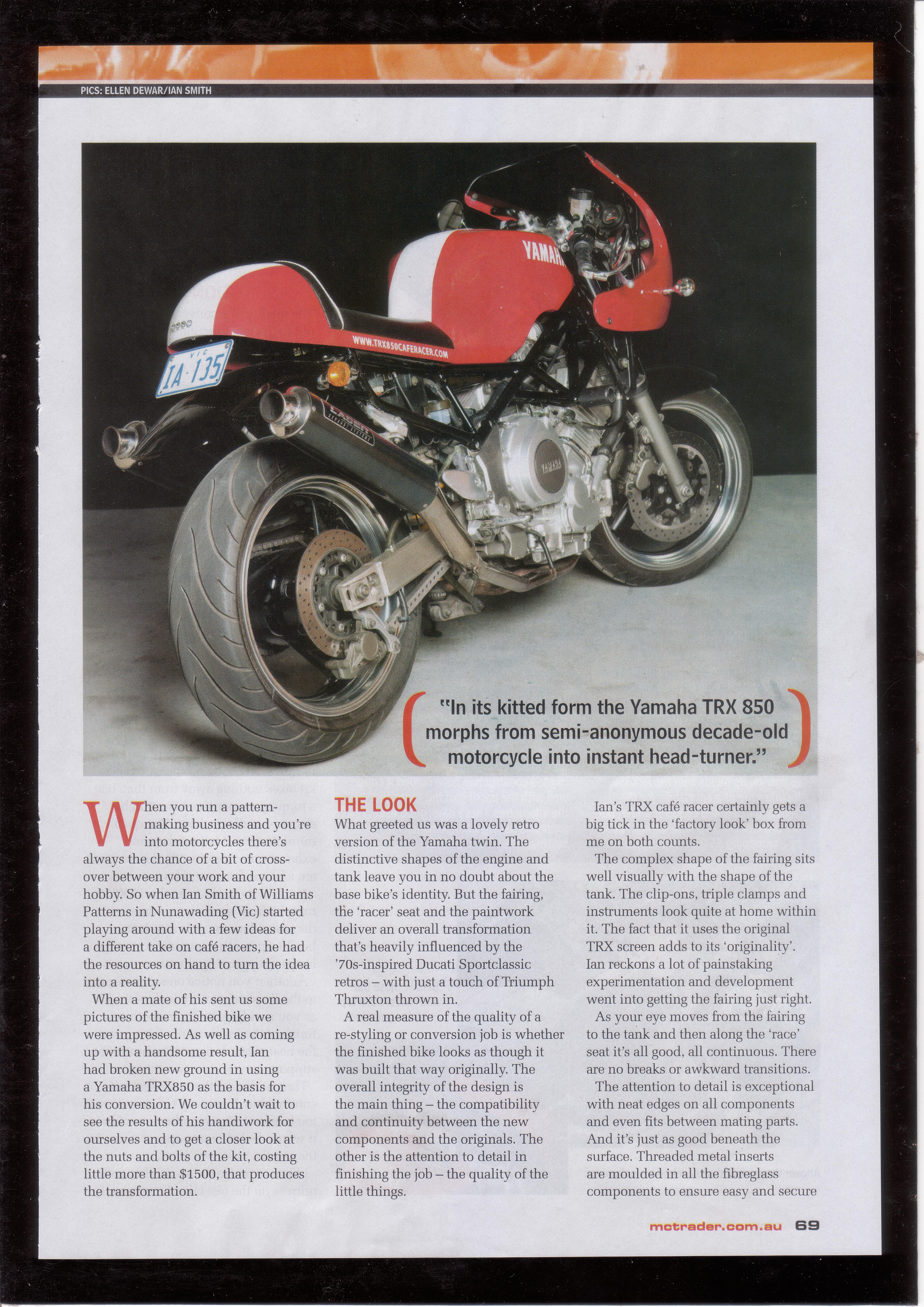 Motorcycle Trader Article | TRX850 Cafe Racer