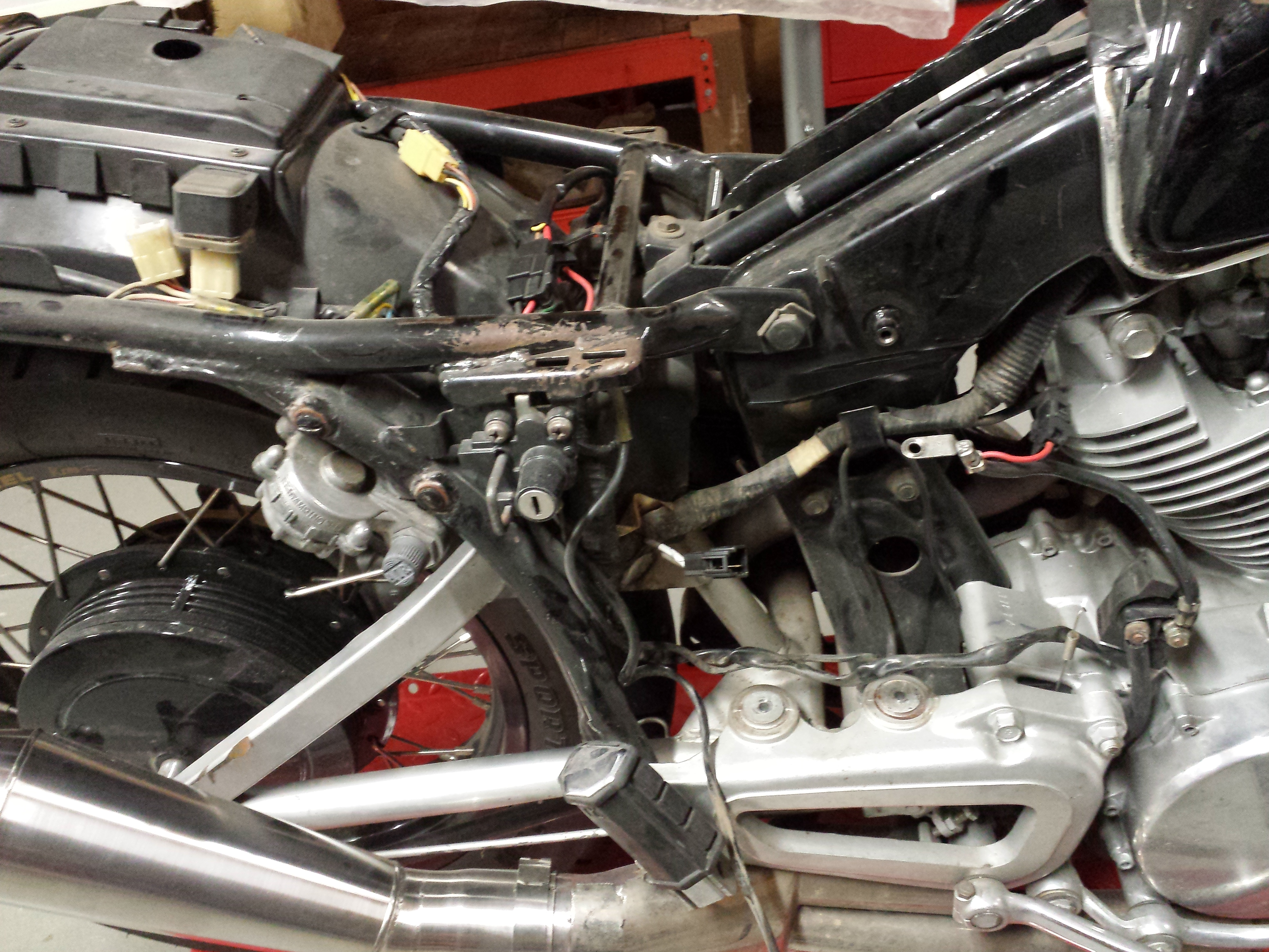 How To Build An Xv750 Cafe Racer Trx850 Stop Light Wiring Diagram Isuzu Foot Pegs Brake And Clutch Peddles Are Next Go